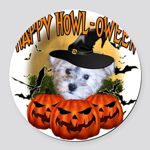 Happy Halloween Schnoodle Round Car Magnet