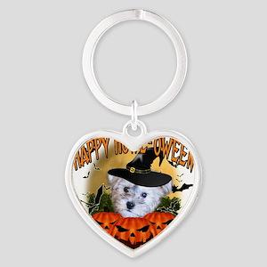 Happy Halloween Schnoodle Heart Keychain