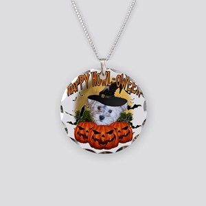 Happy Halloween Schnoodle Necklace Circle Charm
