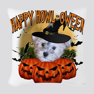 Happy Halloween Schnoodle Woven Throw Pillow