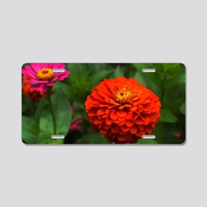 Gorgeous Red Flower Aluminum License Plate