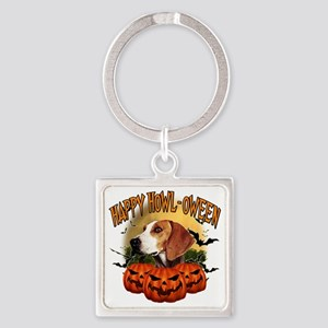 Happy Halloween Foxhound Square Keychain
