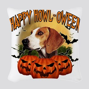 Happy Halloween Foxhound Woven Throw Pillow