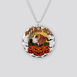 Happy Halloween Foxhound Necklace Circle Charm