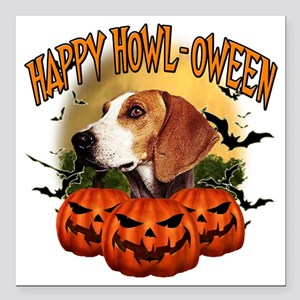 """Happy Halloween Foxhound Square Car Magnet 3"""" x 3"""""""