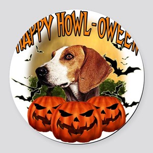 Happy Halloween Foxhound Round Car Magnet