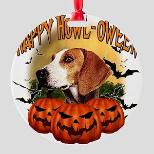 Happy Halloween Foxhound Round Ornament