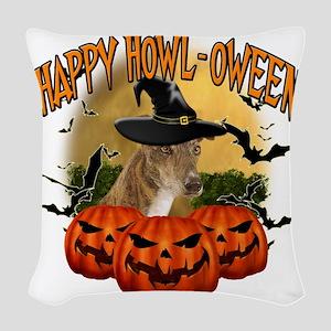 Happy Halloween Greyhound Woven Throw Pillow
