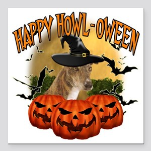 "Happy Halloween Greyhoun Square Car Magnet 3"" x 3"""