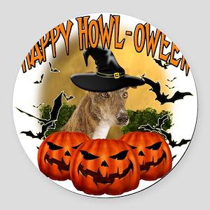Happy Halloween Greyhound Round Car Magnet