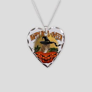 Happy Halloween Greyhound Necklace Heart Charm