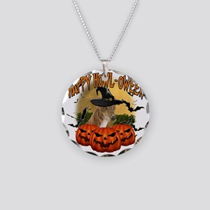 Happy Halloween Greyhound Necklace Circle Charm