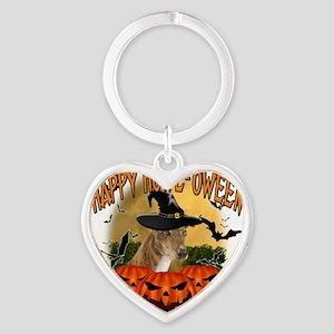 Happy Halloween Greyhound Heart Keychain