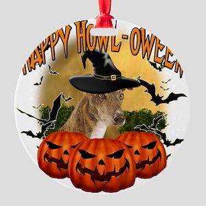 Happy Halloween Greyhound Round Ornament