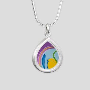 Artwork of male genitali Silver Teardrop Necklace