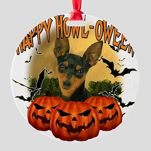 Happy Halloween Min Pin Round Ornament