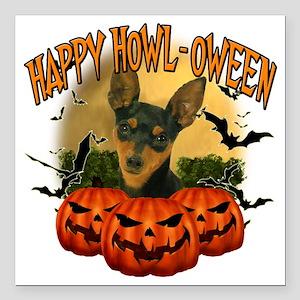 "Happy Halloween Min Pin Square Car Magnet 3"" x 3"""