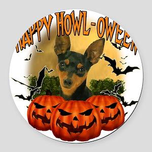 Happy Halloween Min Pin Round Car Magnet
