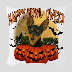 Happy Halloween Min Pin Woven Throw Pillow