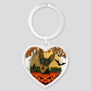 Happy Halloween Min Pin Heart Keychain