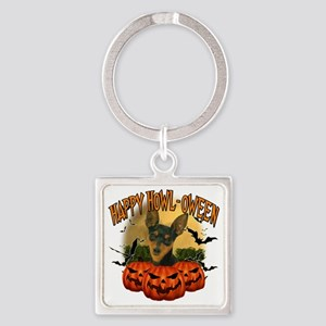 Happy Halloween Min Pin Square Keychain