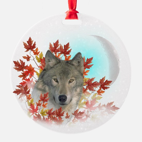 Wolf Harvest Moon Ornament