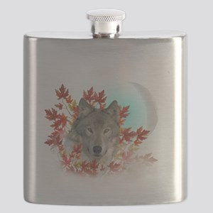 Wolf Harvest Moon Flask