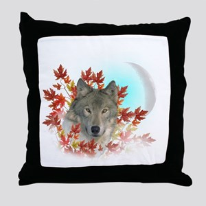 Wolf Harvest Moon Throw Pillow