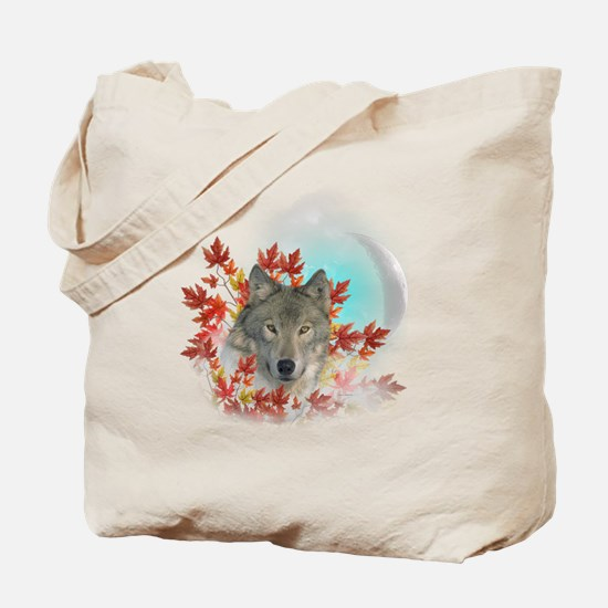 Wolf Harvest Moon Tote Bag