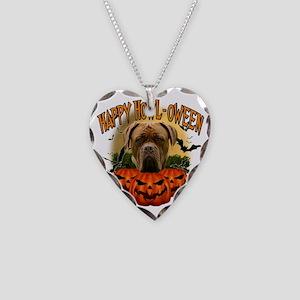 Happy Halloween Mastiff Necklace Heart Charm