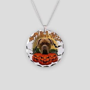 Happy Halloween Mastiff Necklace Circle Charm