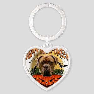 Happy Halloween Mastiff Heart Keychain