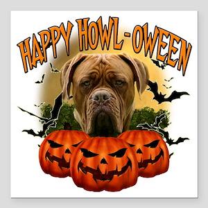 """Happy Halloween Mastiff Square Car Magnet 3"""" x 3"""""""