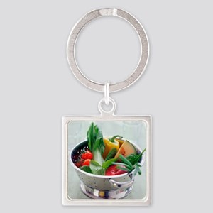 Fruit and vegetables Square Keychain