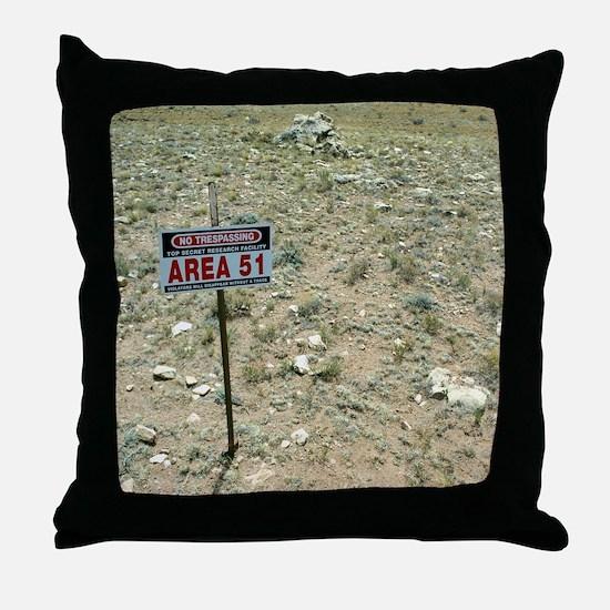 Area 51 UFO site Throw Pillow