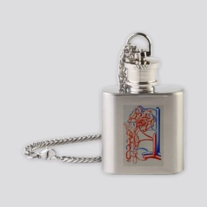 Artwork of kidney nephron with bloo Flask Necklace