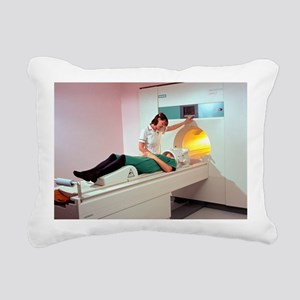 A patient is prepared fo Rectangular Canvas Pillow