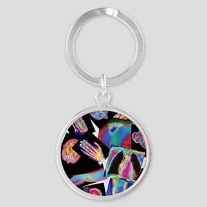 Assortment of coloured X-rays and b Round Keychain