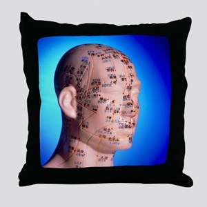 Acupuncture chart on a cast of a head Throw Pillow