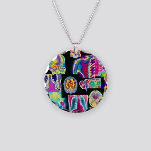 Assortment of coloured X-ray Necklace Circle Charm