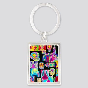 Assortment of coloured X-rays an Portrait Keychain