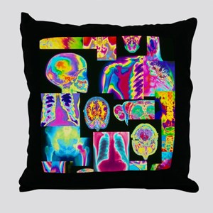 Assortment of coloured X-rays and bod Throw Pillow
