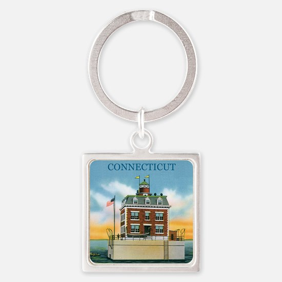 Connecticut New London Ledge Light Square Keychain