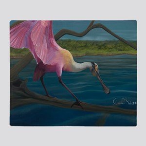Swagger - Roseate Spoonbill Over Wat Throw Blanket