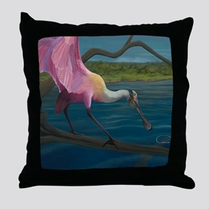 Swagger - Roseate Spoonbill Over Wate Throw Pillow