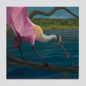Swagger - Roseate Spoonbill Over Wate Tile Coaster