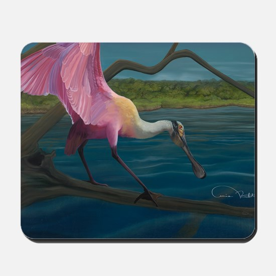 Swagger - Roseate Spoonbill Over Water Mousepad