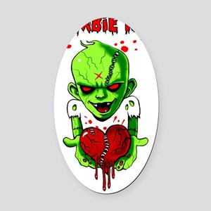 Zombie Kid Oval Car Magnet