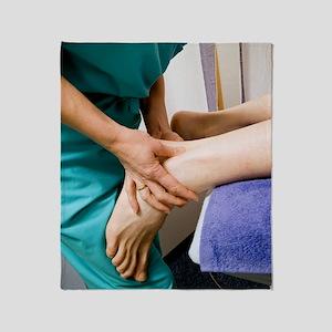 Achillies tendon examination Throw Blanket