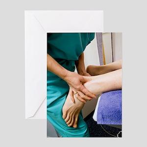 Achillies tendon examination Greeting Card